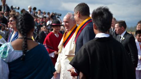 Correa welcomes Pope Francis to Quito on July 5.