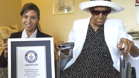 """Susannah Mushatt Jones <a href=""""http://www.cnn.com/2016/05/13/living/worlds-oldest-person-dies/"""">lived to 116.</a> Born in Lowndes County, Alabama, she moved to New York to work as a live-in child care provider. Earning only $50 a week, she put three nieces through college. She attributed her longevity to clean living, not smoking or drinking, and surrounding herself with loving family members and friends. Sleep also helped, she said."""