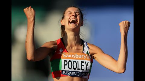 High jumper Isobel Pooley celebrates after setting a British record Saturday, July 4, at the British Championships. Pooley's winning jump was 1.97 meters (6.46 feet).