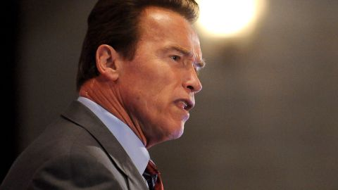 Former California governor Arnold Schwarzenegger gives a keynote address at the Navigating the American Carbon World (NACW) 2011 conference, in Los Angeles, California April 14, 2011. Over the last decade, Navigating the American Carbon World (NACW) has earned the distinction of being the most important carbon event in North America. AFP PHOTO / ROBYN BECK (Photo credit should read ROBYN BECK/AFP/Getty Images)