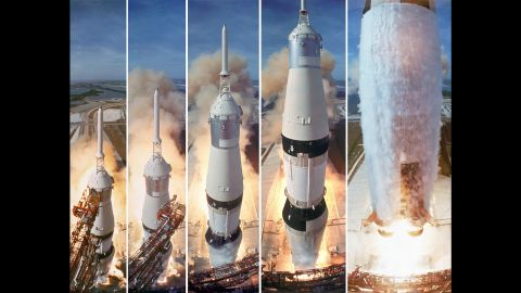 At 9:32 a.m. on July 16, 1969, NASA's Apollo 11 spacecraft was launched by a Saturn V rocket from the Kennedy Space Center in Florida. On board were astronauts Neil Armstrong, Buzz Aldrin and Michael Collins. Four days later, on July 20, they would become the first men to land on the moon.