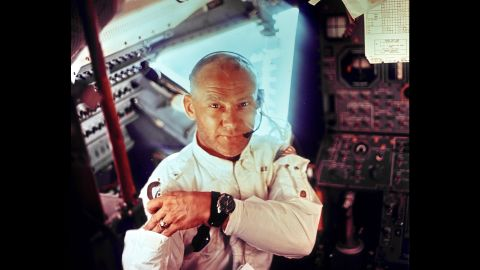 """Aldrin is photographed by Armstrong inside Apollo 11's lunar module, just prior to the moon landing. In orbit, Aldrin later took what would become known as the world's first <a href=""""http://www.cnn.com/videos/tech/2014/07/15/orig-buzz-aldrin-space-selfie.cnn"""">space selfie</a>."""