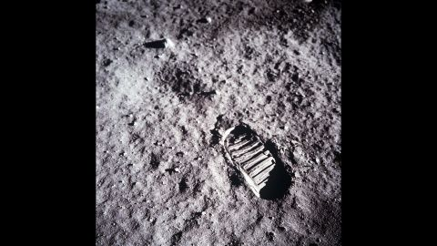 A close-up view of Aldrin's boot print in the lunar soil.