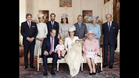 """This family photo was taken after <a href=""""http://www.cnn.com/2015/07/05/europe/royal-baby-princess-charlotte-christening/"""" target=""""_blank"""">Charlotte's christening</a> in July 2015. In the front row, from left, are William, George, Catherine, Charlotte and Queen Elizabeth II. In the back row, from left, are Catherine's father, Michael Middleton; her sister, Pippa Middleton; her brother, James Middleton; her mother, Carole Middleton; Charles; Camilla, Duchess of Cornwall; and Prince Philip."""