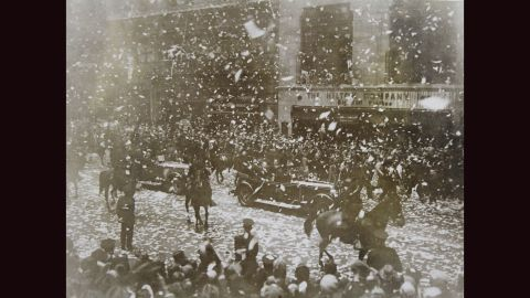 Dr. Hugo Eckener, a German pioneer of airships, and the crew of the Graf Zeppelin were honored with a ticker tape parade on October 16, 1928, for completing the first commercial flight across the Atlantic.