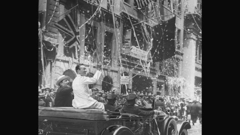 In honor of his first Antarctic expedition and flight over the South Pole, Rear Admiral Richard E. Byrd was thrown a parade in 1930.