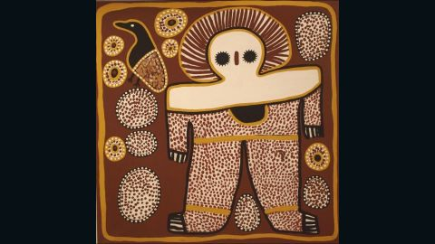"""This painting by <a href=""""http://www.aboriginal-art-australia.com/artworks/lily-karadada-three-wandjina/"""" target=""""_blank"""" target=""""_blank"""">Lily Karadada</a> shows the Wandjina -- the supreme spirit being according to the Worrorra, Wunambal and Ngarinyin people of the Kimberley region. The Wandjina have large eyes but no mouth, as it is said this would make them too powerful. Pictured, """"Wanjina"""" by Lily Karadada."""