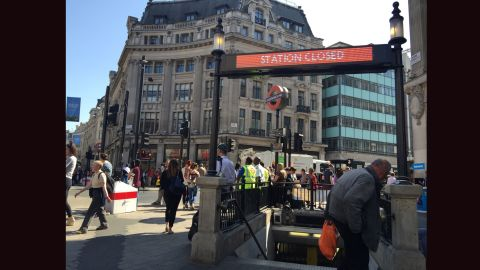 A sign informs travelers that Oxford Circus Tube station is closed on Thursday, July 9. Millions of Londoners were forced to find alternative ways to travel Thursday as the UK capital's Underground network was in the grip of what may be its biggest strike in more than a decade.