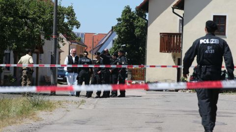 A drive-by shooter killed two people in and around the town of Leutershausen in Germany, police say