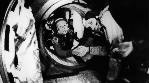 Soyuz 19 commander Alexei Leonov, left, shakes hands with Thomas Stafford, commander of the Apollo 18, on that first joint mission in 1975.
