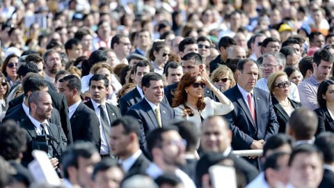 Paraguayan President Horacio Cartes, center left, and Argentinian President Cristina Fernandez de Kirchner, center right, attend a mass at the Shrine of the Virgin of Caacupe in Caacupe, Paraguay, on July 11.