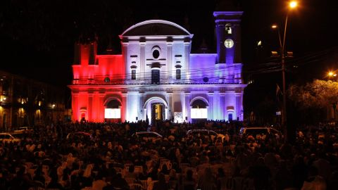 The Metropolitan Cathedral in Asuncion is illuminated in the colors of the Paraguayan flag during evening prayers with Pope Francis on Saturday, July 11.