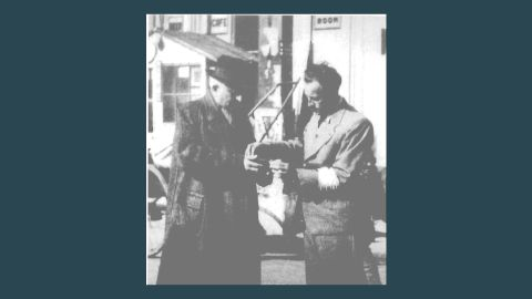 """A Jewish refugee member of the """"Pao Chia"""" -- a self-policing group that was organized by the Japanese in 1942 to guard the ghetto."""