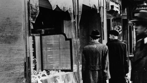 Jewish shops and businesses were destroyed by the Nazis during Kristallnacht.