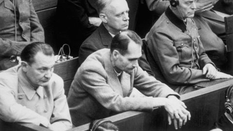 Rudolf Hess (center) was a longtime personal aide to Adolf Hitler. At the Nuremberg trials, he was sentenced to life in prison and ultimately committed suicide behind bars in 1987, at age 93. With him were Goering (left), Foreign Minister Joachim von Ribbentrop and Armed Forces Chief of Staff Wilhelm Keitel. All but Hess were sentenced to death.