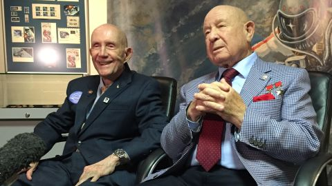 Former astronaut Thomas Stafford (left) and former cosmonaut Alexey Leonov