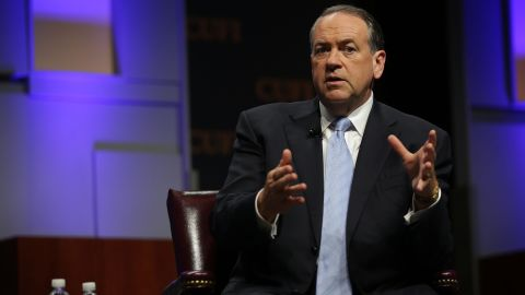 Republican U.S. presidential hopeful, former Arkansas Gov. Mike Huckabee participates in a discussion during a Christians United for Israel summit July 13, 2015 in Washington, D.C.