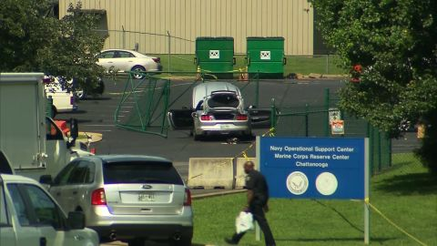 A car believed to be driven by Abdulazeez is seen on the grounds of the Navy facility.
