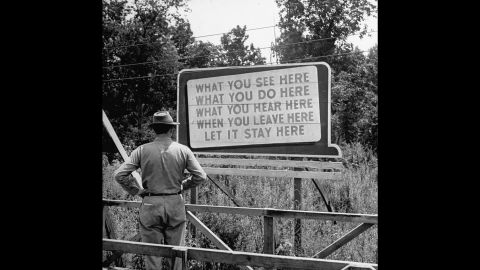 The Manhattan Project also involved research facilities in Oak Ridge, Tennessee, and Hanford, Washington. Billboards, like this one in Oak Ridge, reminded workers of the project's top-secret nature.