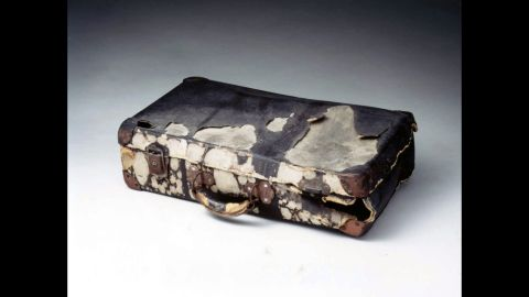 When the bomb detonated, Tadayori Kihara was riding his bicycle onto a bridge with this suitcase mounted behind his seat. The blast threw him down on the bridge walkway. His back and arms were so badly burned that most of the skin peeled off. The suitcase bears burns from the bomb's intense heat. Kihara survived and lived 22 more years, treasuring this suitcase before it was donated to the museum.