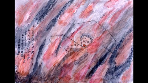 """Chisako Sasaki drew this image of a girl at a window on the second floor of a burning house. Sasaki remembers the girl crying for help. """"I can never forget,"""" Sasaki said."""