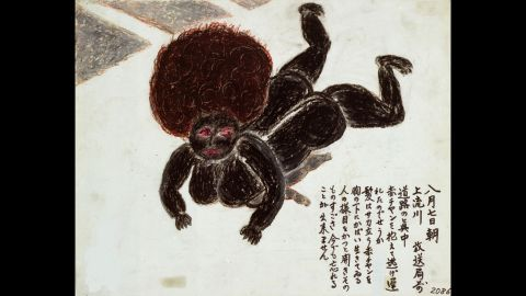 """Mitsuko Taguchi is haunted by this scene, depicted in her drawing, of a dead mother and child who had fallen while trying to outrun flames. """"Her hair was standing on end,"""" Taguchi said. """"She still protected her child under her breast, like a living person. Her eyes were open wide. I cannot forget that shocking sight."""""""