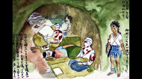 """Survivor Asako Fujise drew this image of a bomb shelter that was being used as a makeshift hospital. It was """"filled with moans and the smell of zinc oxide and Mercurochome mixed with sweat."""""""