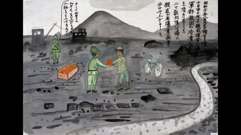 """Not all the drawings depict bad memories. Masaru Shimizu remembers being given a few dozen frozen mandarin oranges by the military. """"I gave some of them to relatives who were seriously injured by the atomic bomb,"""" she said."""