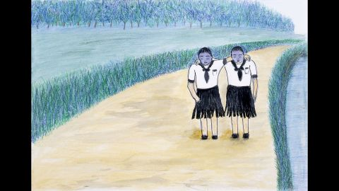 """The memory of seeing two girls with blue-violet faces shocked Torao Izuhara so much that she never forgot it. Their faces were """"swollen so badly that you couldn't tell whether their eyes were open or shut, and their skirts were ripped up right at the creases,"""" Isuhara said. """"Their faces were really even blacker than the drawing. They helped each other walk along, their shoulders joined together, their powerless legs somehow carrying them off towards the Otagawa River."""""""