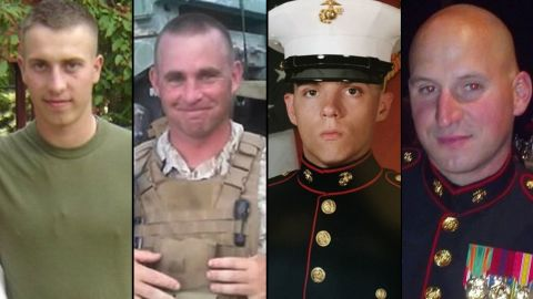 The four victims of the Chattanooga shooting spree: Sgt. Carson Holmquist, Gunnery Sgt. Thomas Sullivan, Lance Clp. Squire K. Wells, Staff Sgt. David Wyatt.