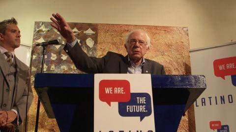 Bernie Sanders speaks to a group of artists