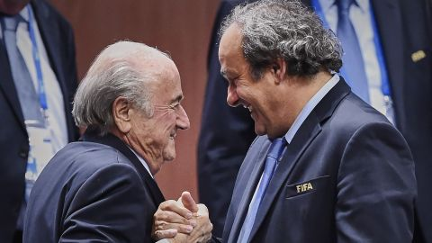 European football chief Platini, seen here with Blatter (left), is the leading candidate to replace the outgoing president. The former France captain is also a vice-president in FIFA's Executive Committee.
