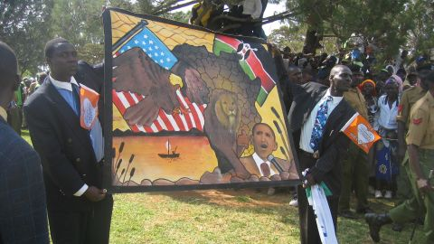 Large crowds gathered across Kenya to welcome Obama, who received too many gifts to bring home to the United States.