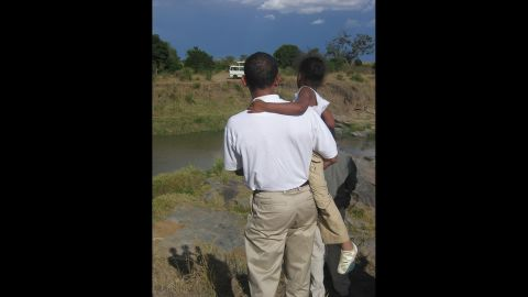 """Obama and Malia, who he playfully called """"Cool Breeze,"""" enjoyed the scenery in rural Kenya."""