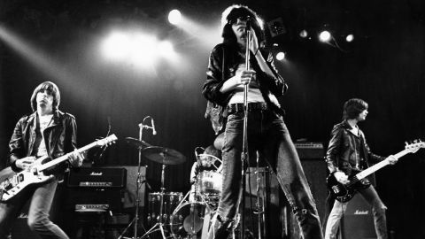 """Joey, Johnny, Dee Dee and Tommy: four guys from New York City who introduced garage punk to the masses with """"Blitzkrieg Bop"""" and """"I Wanna Be Sedated."""" Their belligerent, in-your-face sound and their long-haired, dressed-down look made them instant punk archetypes, placing them among the most influential bands of the decade."""