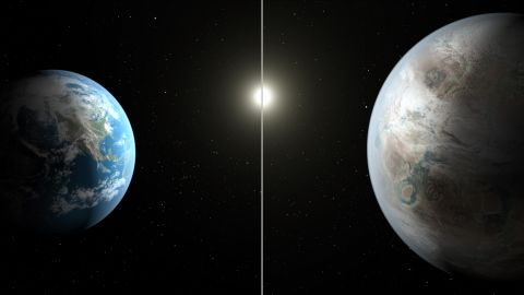 Kepler-452b is about 60% larger than Earth, left. It's about 1,400 light-years from Earth in the constellation Cygnus.