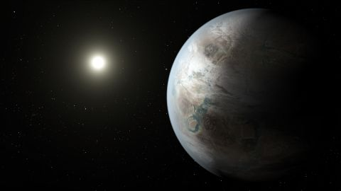 """On Thursday, July 23, NASA announced the discovery of Kepler-452b, """"Earth's bigger, older cousin."""" This artistic concept shows what the planet might look like. Scientists can't tell yet whether Kepler-452b has oceans and continents like Earth."""
