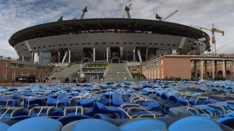 Zenit's new stadium is still under construction. With a capacity of nearly 67,000 people, it's one of 12 stadiums hosting games at the 2018 tournament. The opening and final match will be staged at Moscow's Luzhniki Stadium.