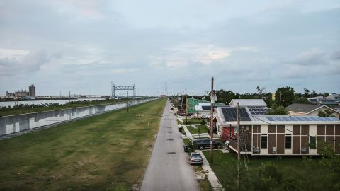 New homes stand along the rebuilt Industrial Canal levee on May 16, 2015.