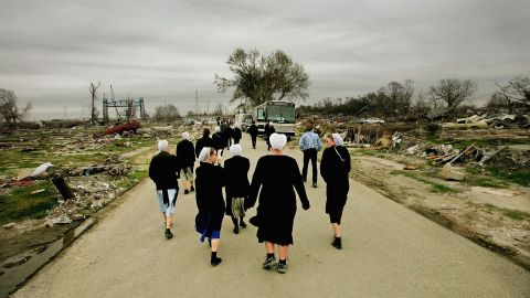 A group of Amish student volunteers tour the Lower Ninth Ward on February 24, 2006.