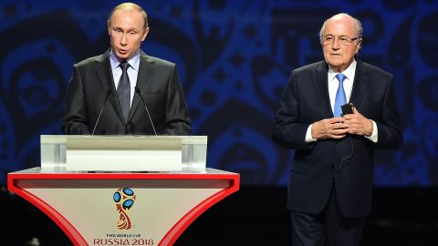 Russian president Vladimir Putin and FIFA president Sepp Blatter open proceedings at the preliminary draw for the 2018 World Cup.