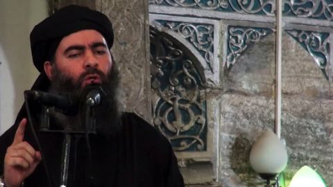 Abu Bakr al-Baghdadi in an image grab from a propaganda video released in July 2014.