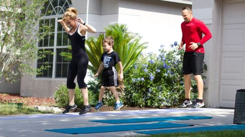 """Chalk ladder agility exercises are fun and invigorating. You can do any number of hopping, sidestepping, skipping, etc., exercises. Santas' family likes to play """"Follow the Leader,"""" with each member getting the opportunity to lead an exercise of his or her choice up and back on the ladder."""