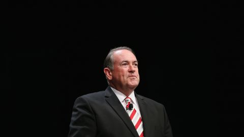 Former Arkansas Gov. Mike Huckabee fields questions at The Family Leadership Summit on July 18, 2015, in Ames, Iowa.
