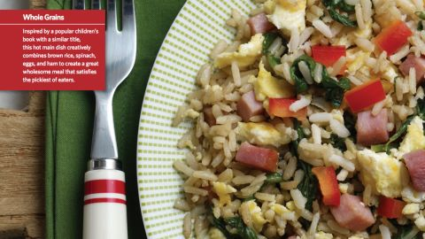 """<a href=""""http://www.cnn.com/2015/08/05/health/green-rice-eggs-ham-recipe/index.html""""><strong>CLICK HERE FOR FULL RECIPE</strong></a><br />Dr. Seuss would be thrilled to see his work applied to a tasty and nutritious choice that won a place in the top 30 recipes. Green Rice, Eggs and Ham was submitted by Chef Andrea Reusing and students,community members and school professionals from McDougle Elementary School and Culbreth Middle School in Chapel Hill, North Carolina."""