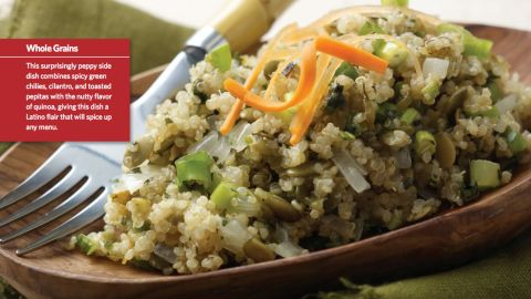 """<a href=""""http://www.cnn.com/2015/08/05/health/peppy-quinoa-kids-recipe/index.html""""><strong>CLICK HERE FOR FULL RECIPE</strong></a><br />A healthy alternative to rice, quinoa is trendy among kids and parents alike. Sartell, Minnesota, Chef Paul Ruszat, as well as kids, parents and school nutritionists  from Sartell Middle School teamed up to create this peppy version."""