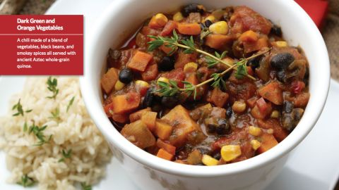 """<a href=""""http://www.cnn.com/2015/08/05/health/smokin-powerhouse-chili-kids-recipe/index.html""""><strong>CLICK HERE FOR FULL RECIPE</strong></a><br />It could almost be called rainbow chili, there's so many colors and textures in this belly-filling hot lunch, but kids will have fun saying that 'it's smokin'!"""" Chef Jenny Breen worked hand in hand with kids and parents at Hopkins West Junior High School in Minnetonka, Minnesota, to create this crowd pleaser."""