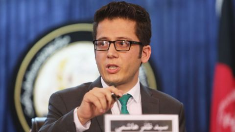 Zafar Hashemi, deputy spokesman for Afghan President Ashraf Ghani, speaks during a news conference on July 29, when the news of Omar's death was announced.