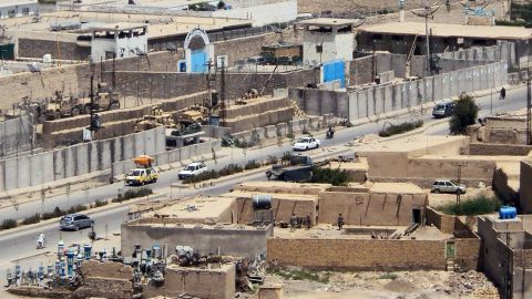 In April 2011, hundreds of prisoners escaped from a prison in Kandahar by crawling through a tunnel. The Taliban took responsibility for the escape. This picture shows a general view of the prison, top center, and the house, bottom right, from which Taliban militiamen dug the tunnel leading to the prison.