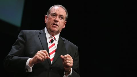 Republican presidential hopeful and former Arkansas Governor Mike Huckabee fields questions at The Family Leadership Summit at Stephens Auditorium on July 18, 2015 in Ames, Iowa.